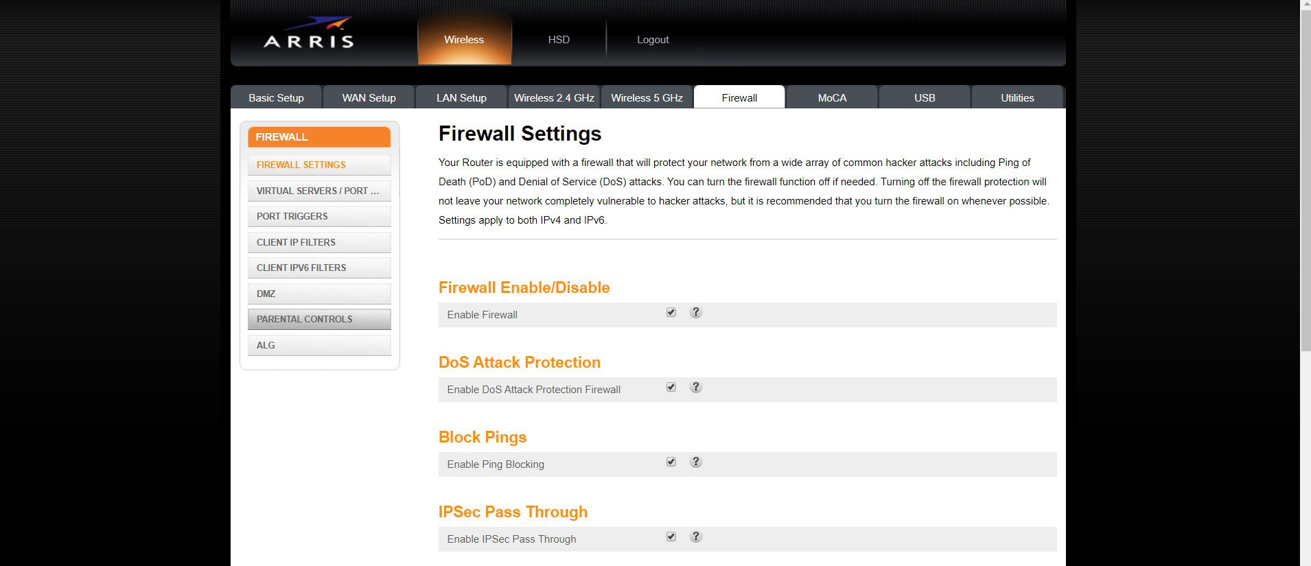 You can find Parental Controls under the Firewall Settings of an Arris router