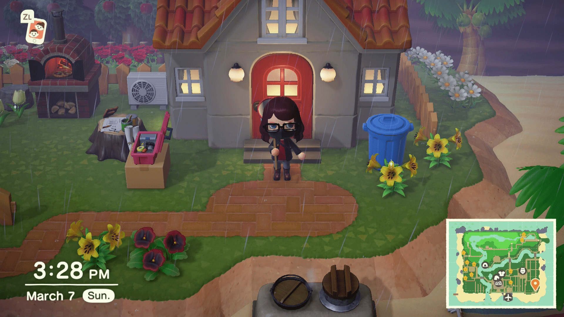 The mini map highlighted in Animal Crossing.