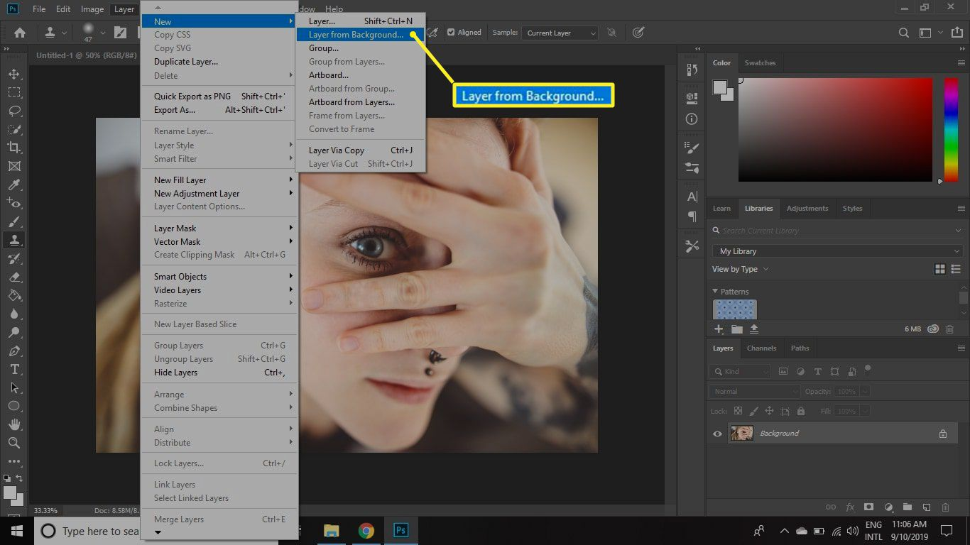 Create layer from background