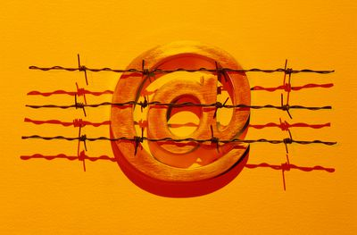 Barbed wire in front of an