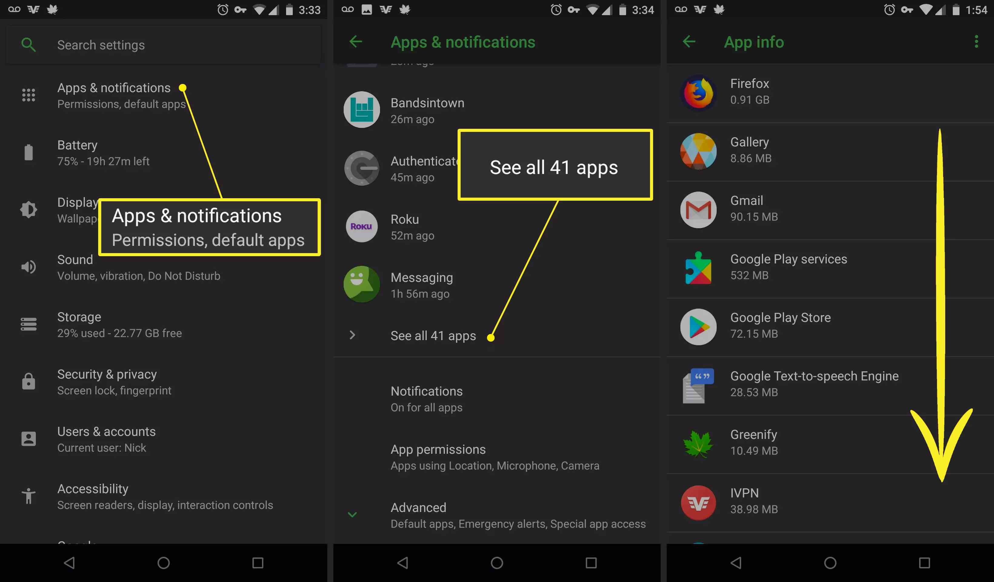 On Android, Apps & notifications open with all apps displayed