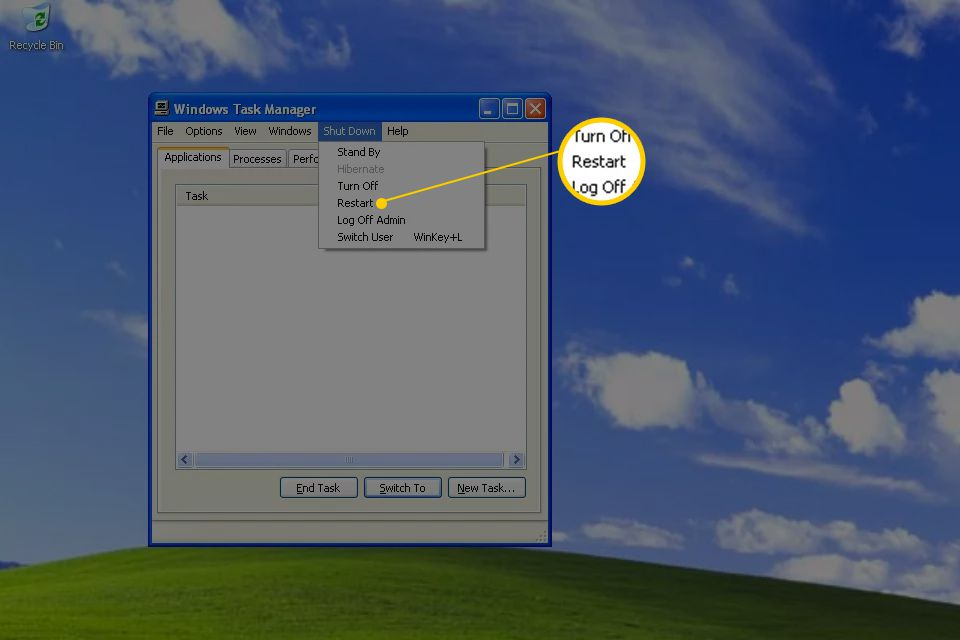 Screenshot showing how to restart Windows XP from Task Manager