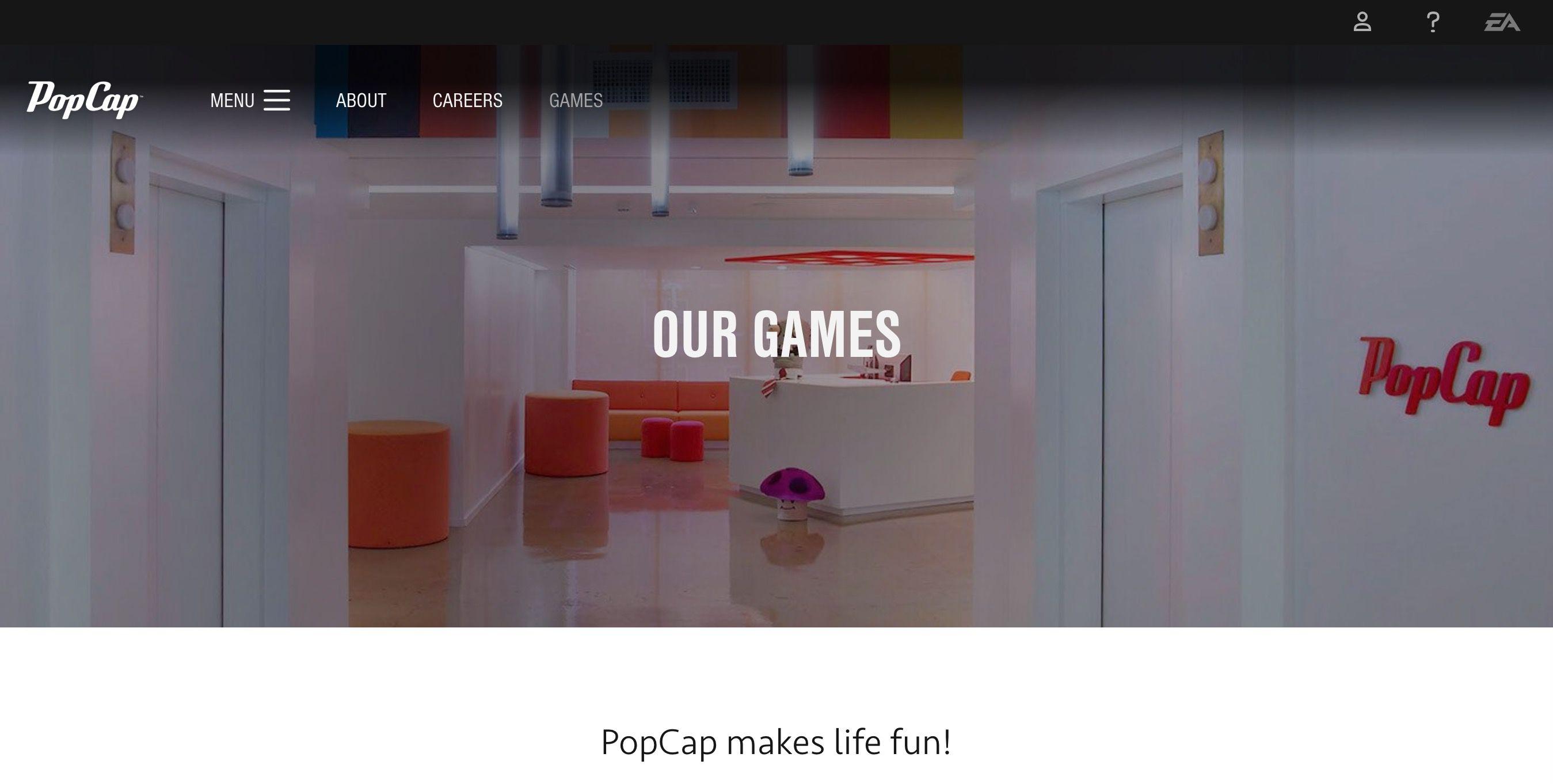 PopCap Games homepage