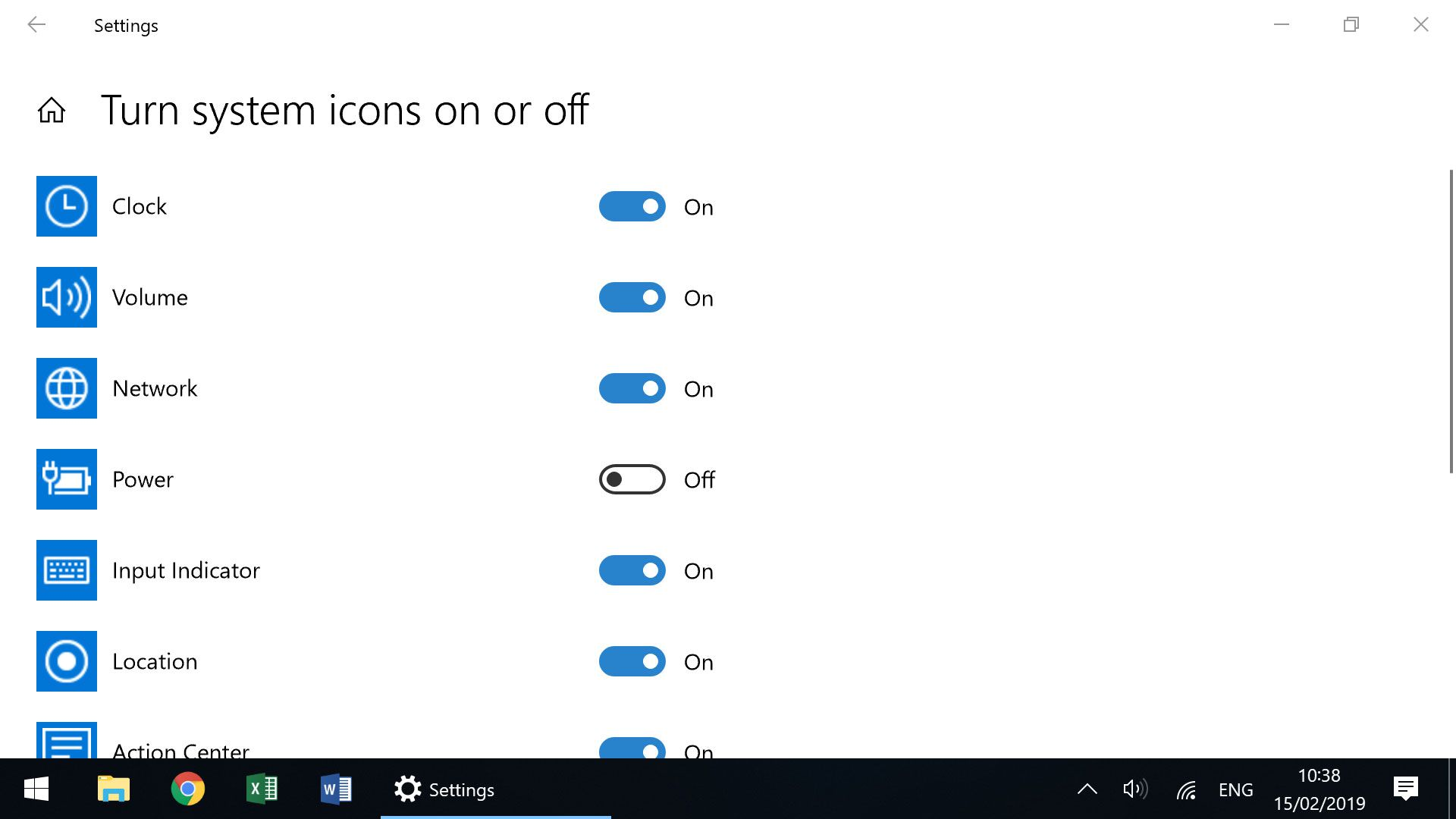 Turn system icons on or off - Windows Taskbar setting to display battery icon