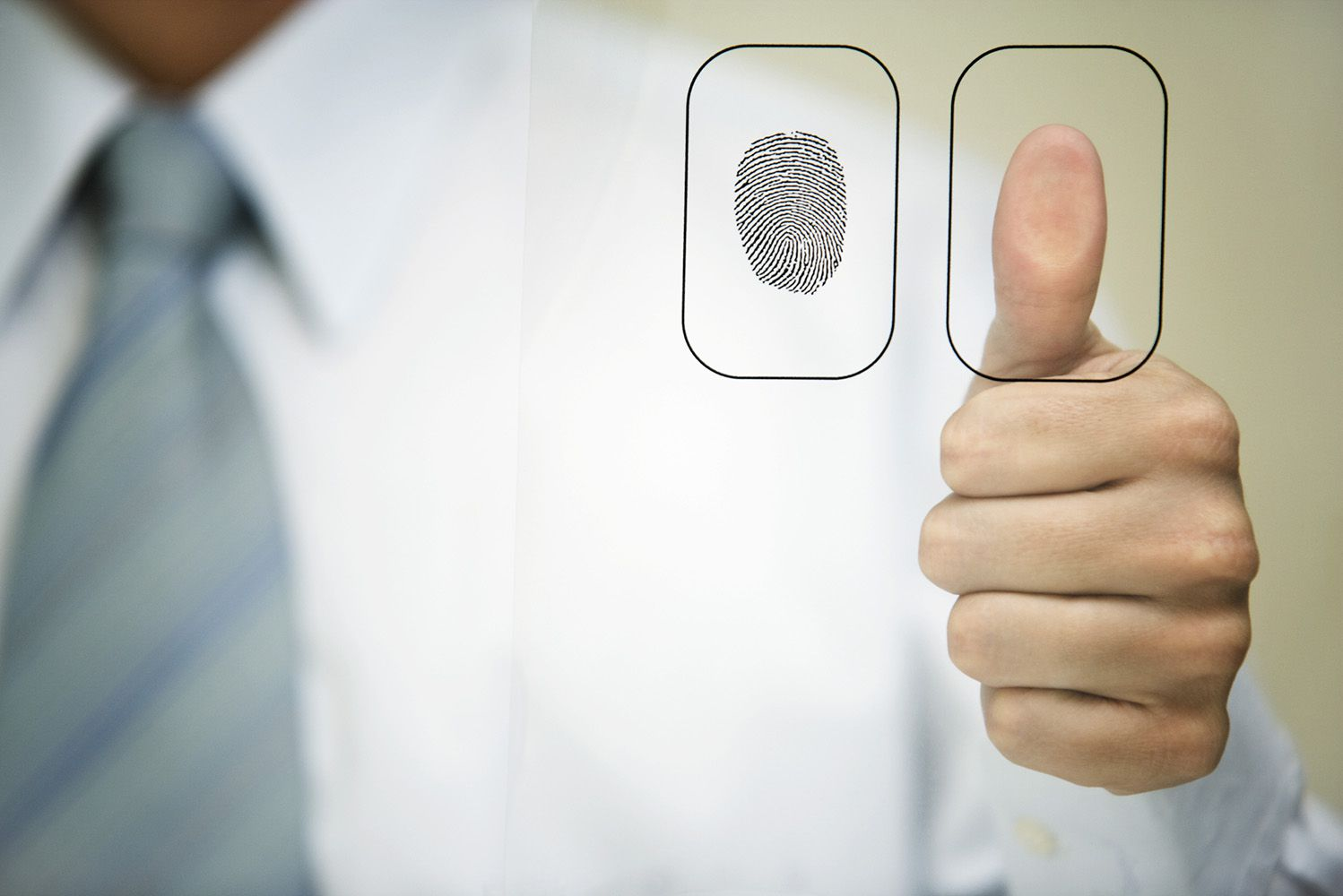 Graphic of man holding up thumb to glass panel