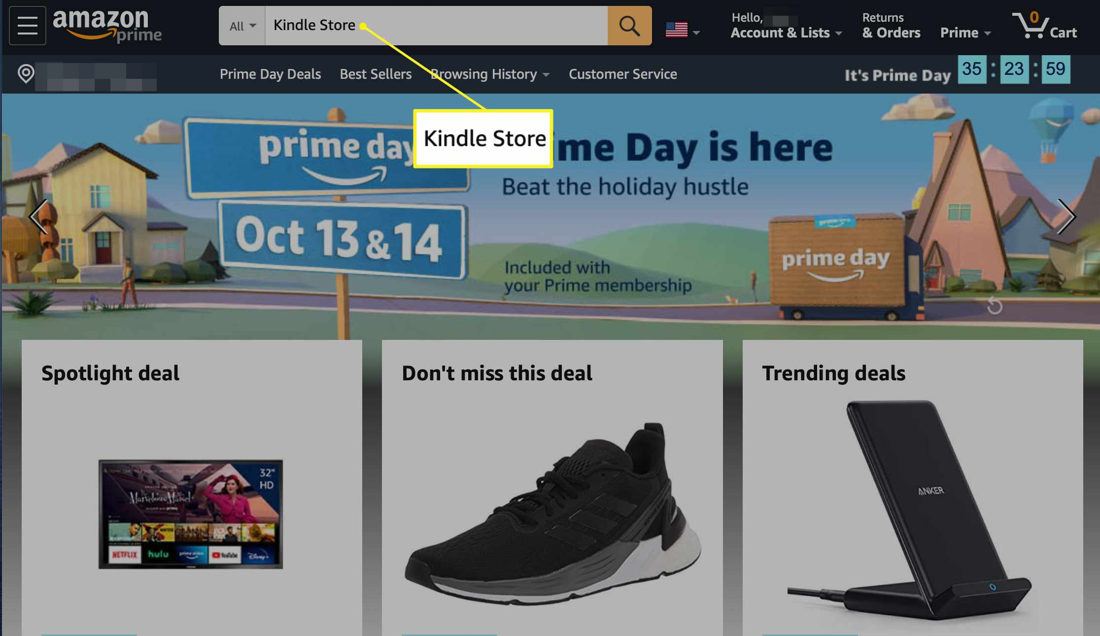 Amazon.com with Kindle Store entered into the search field