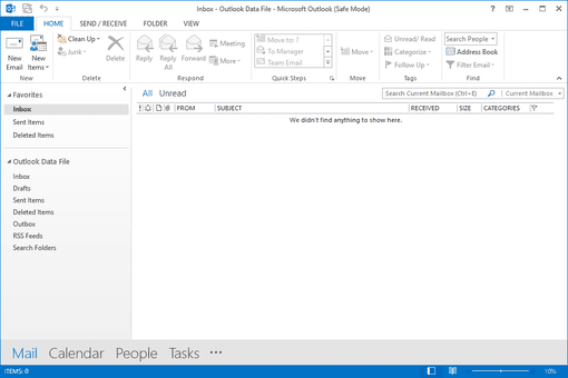 Screenshot of the Outlook 2013 safe mode window
