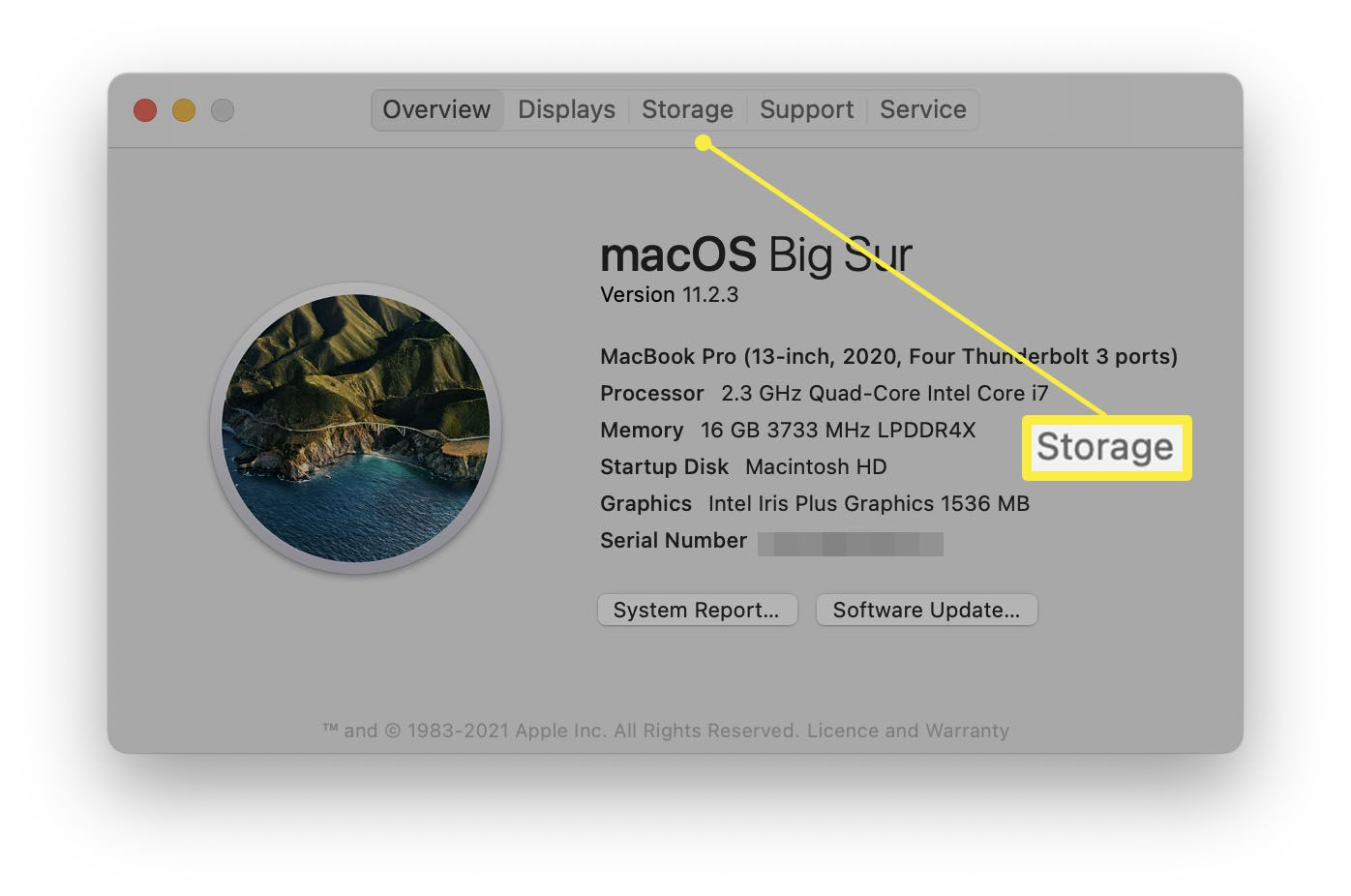 macOS About This Mac with Storage highlighted