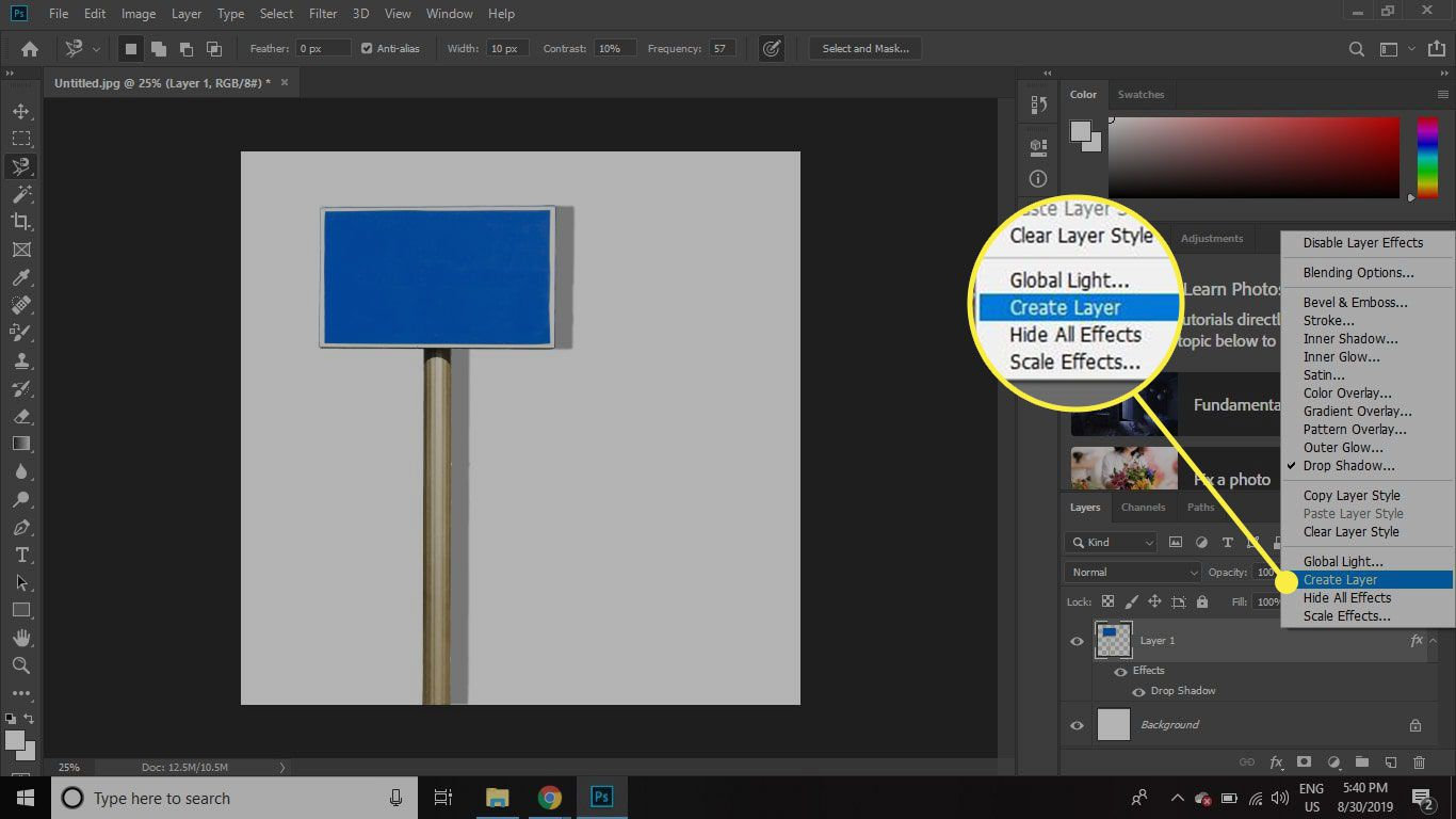 A screenshot of Photoshop with the Create Layer command highlighted