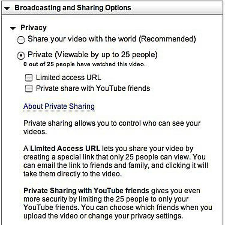 public unlisted private youtube