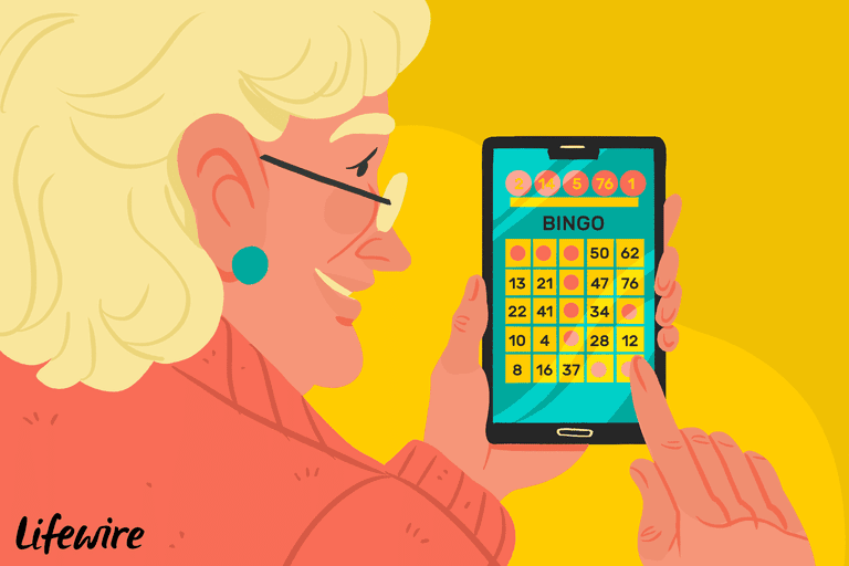 Person playing Bingo game on Android device