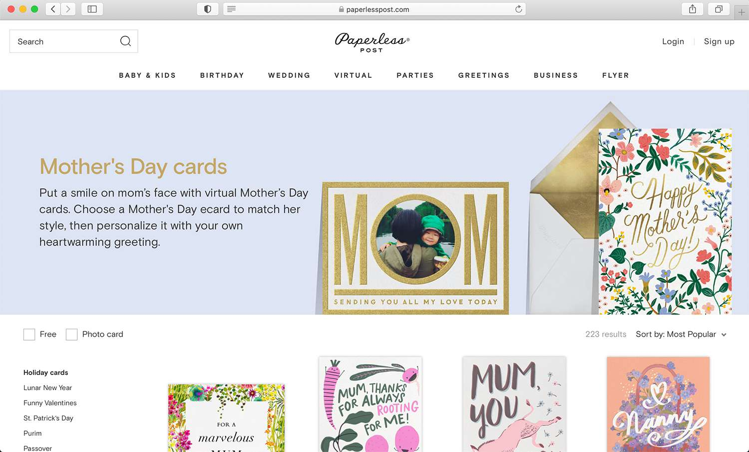 Paperless Post invitation and e-card design site for parties and special occasions