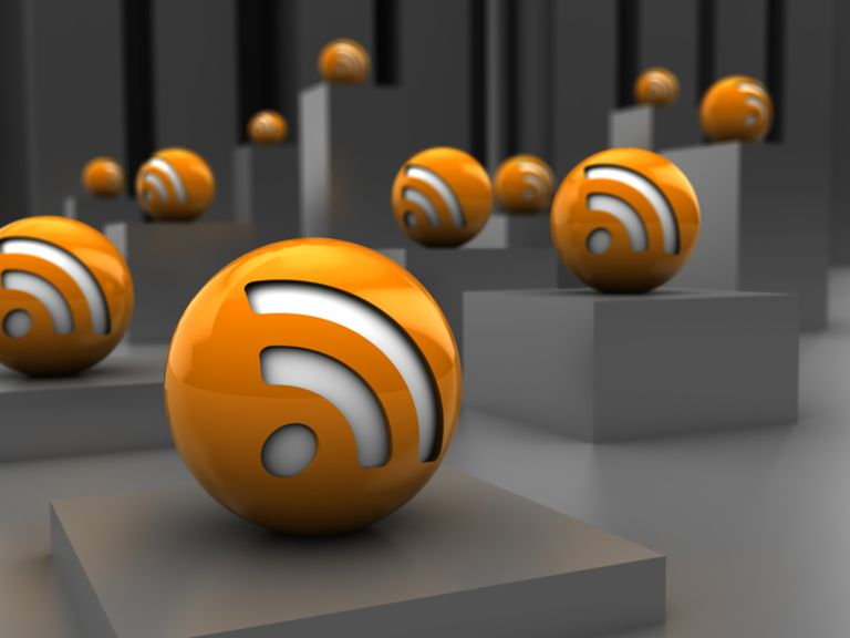 abstract 3d illustration of rss icons over steel background