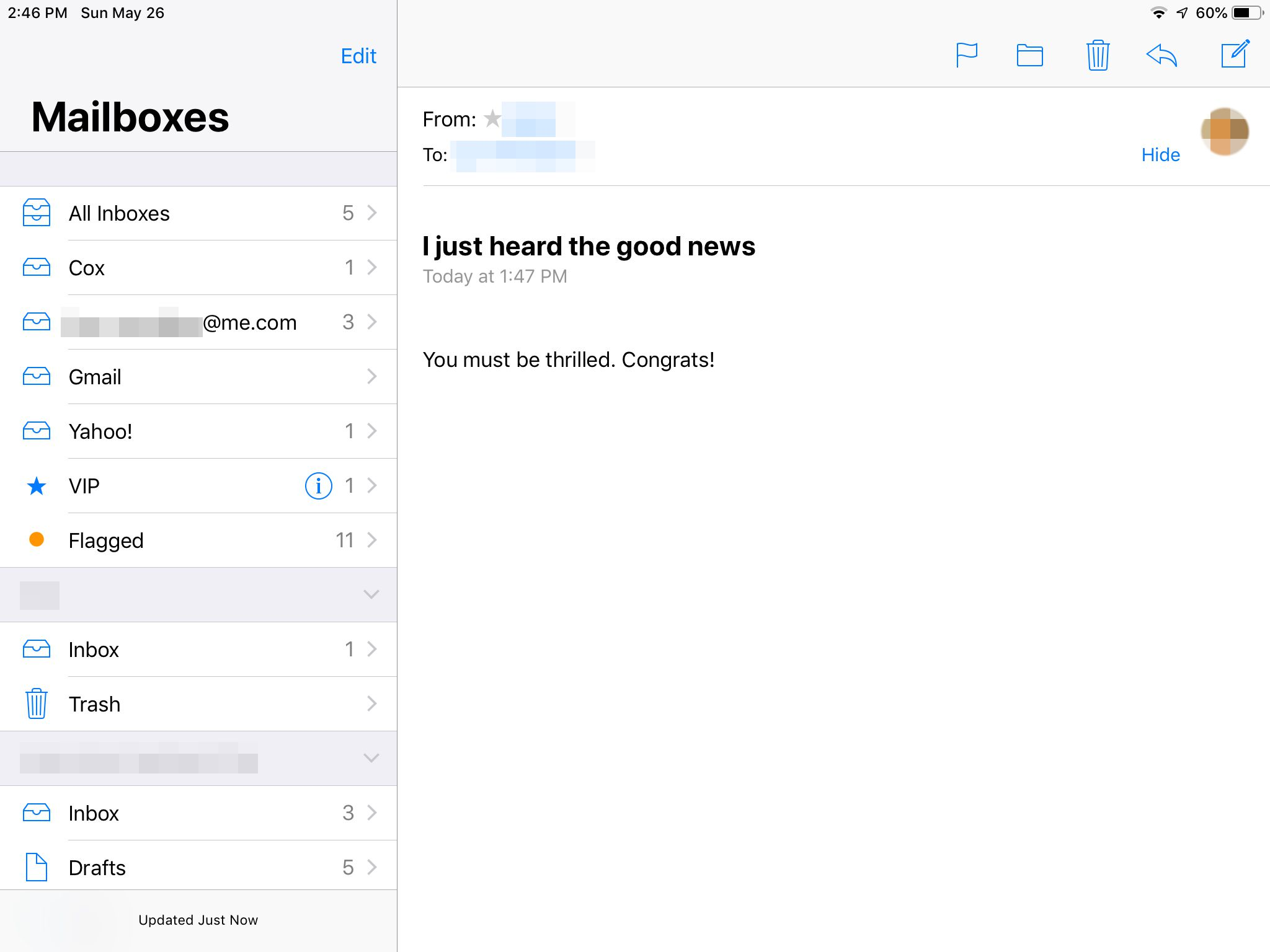 Mailboxes panel in Mail app