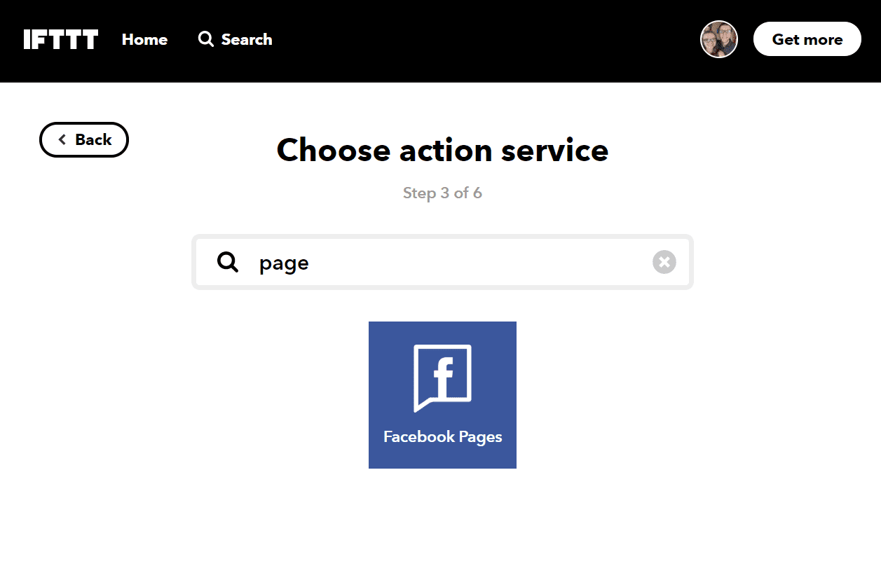 Facebook Pages button on IFTTT