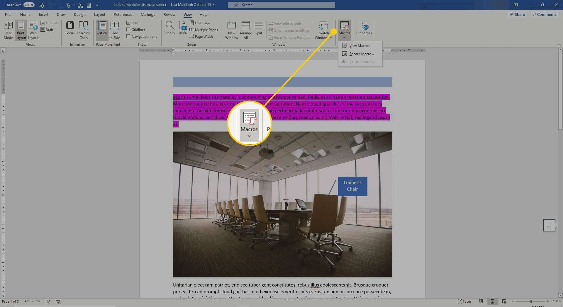 View ribbon in Word with the Macros heading highlighted