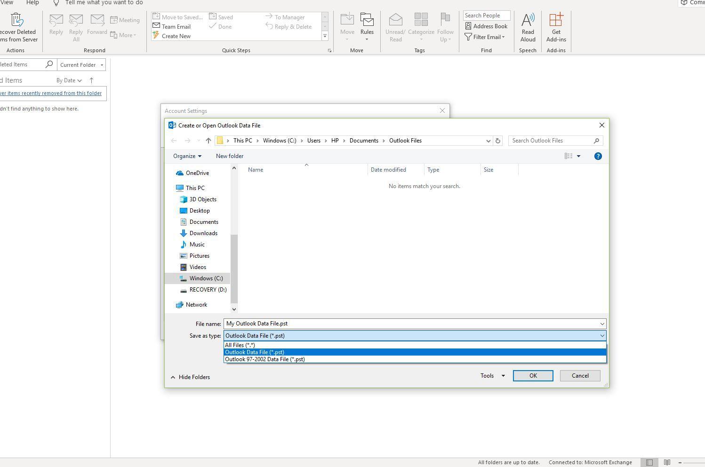 Screenshot of Save as Type