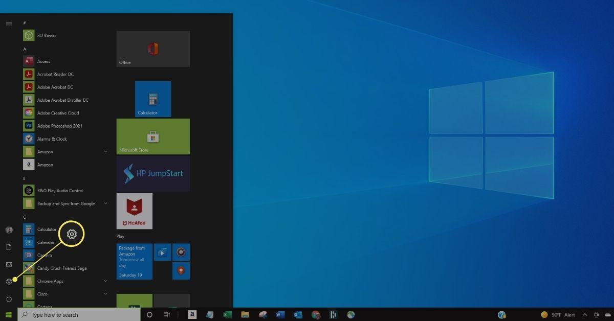 Settings in Windows 10 Start menu