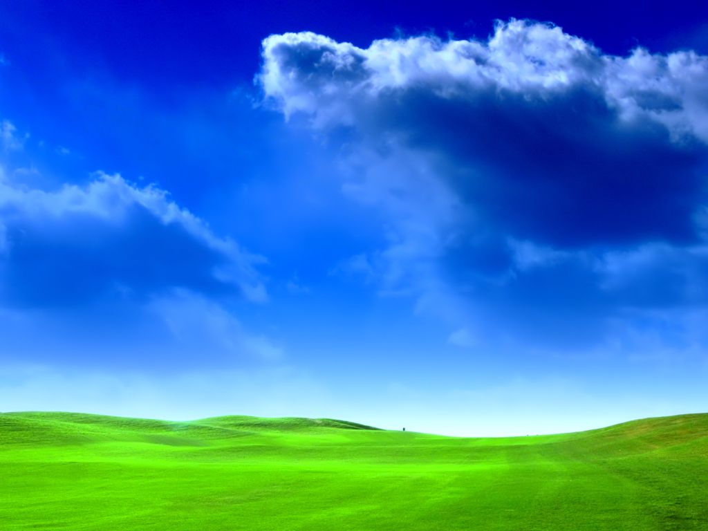Desktop wallpaper depicting a bright green field and a blue sky
