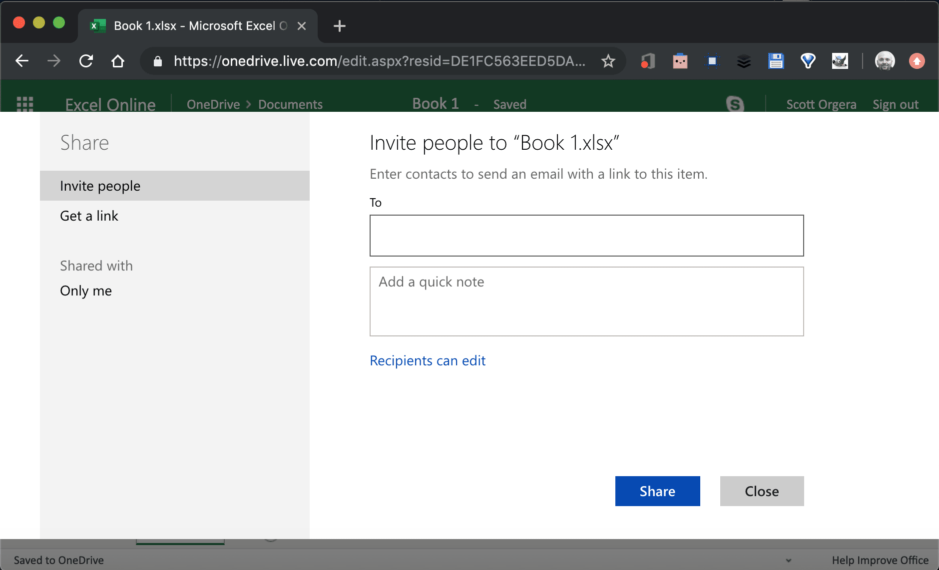screenshot of Excel Online Invite People interface