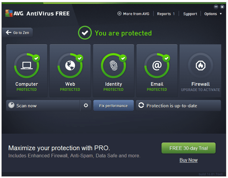 Screenshot of AVG AntiVirus Free v16.81.7640 in Windows 7