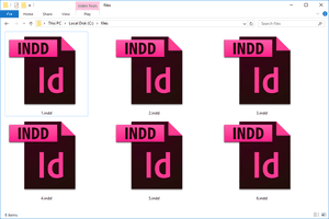 INDD files in a folder in Windows 10