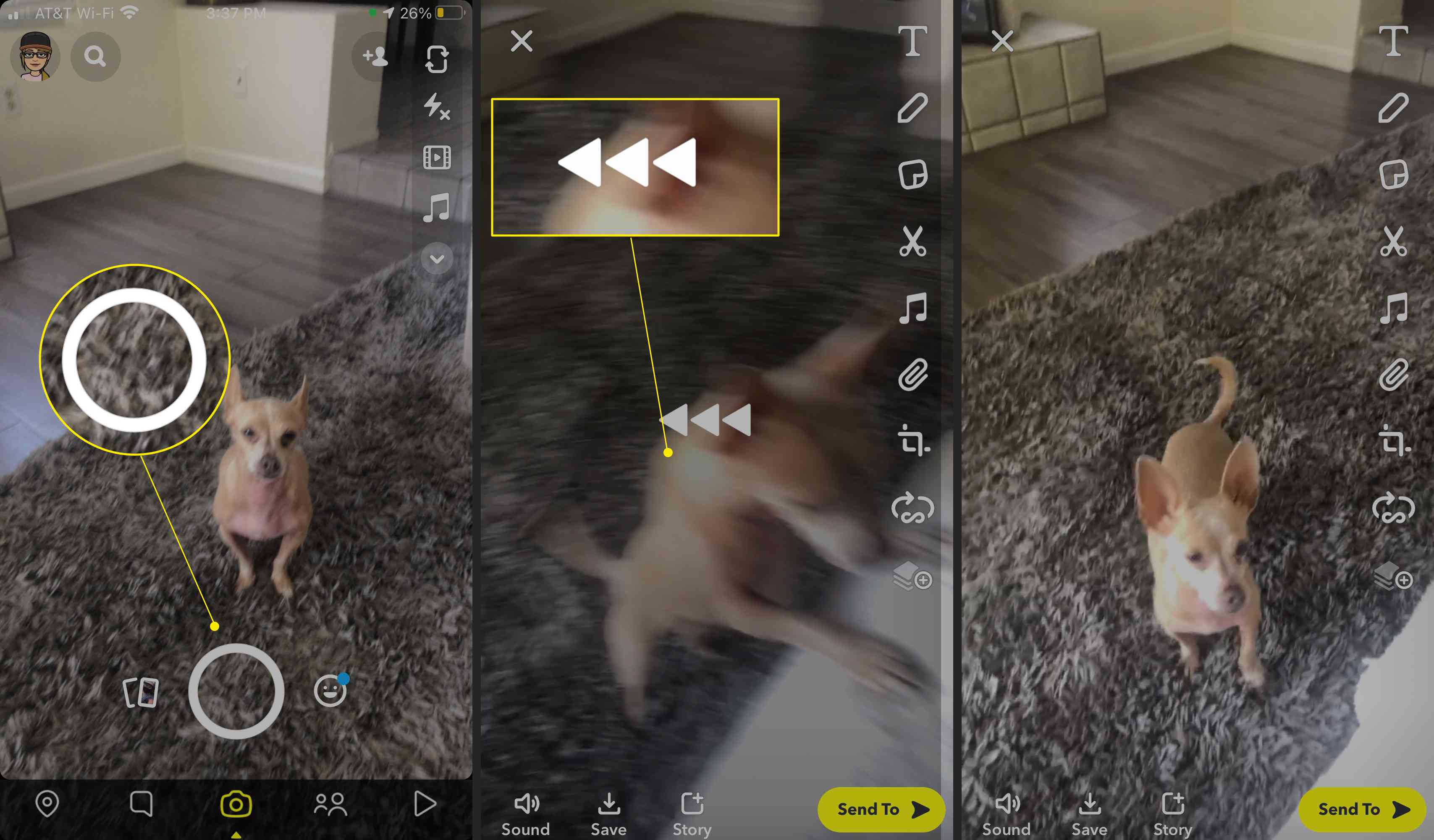 Steps to take to reverse a video on Snapchat with the record button and Reverse Filter icon highlighted
