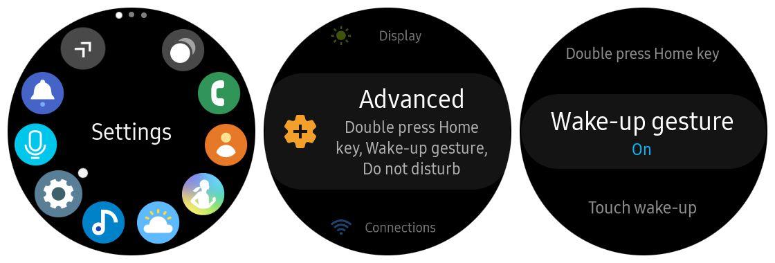 Samsung Gear S3 wake-up gesture feature