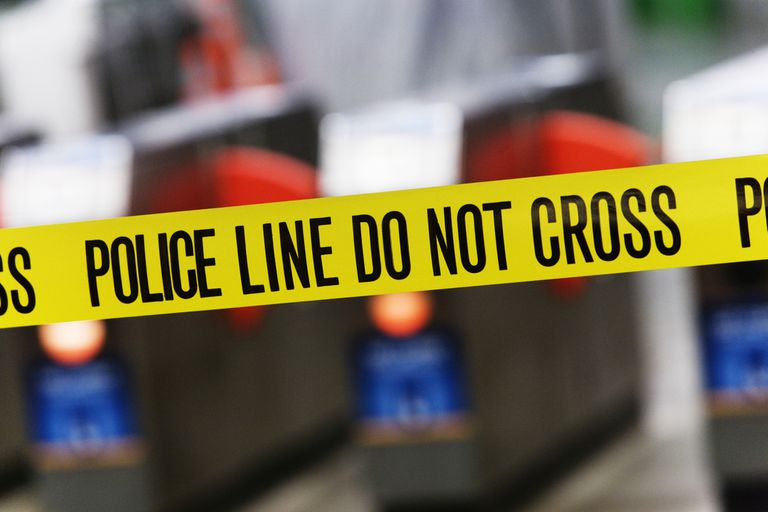 Police tape hangs before a crime scene. There are several types of crimes that are studied within sociology.