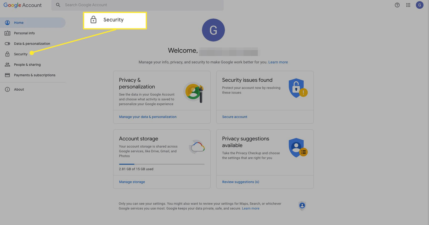 Google account settings with security highlighted