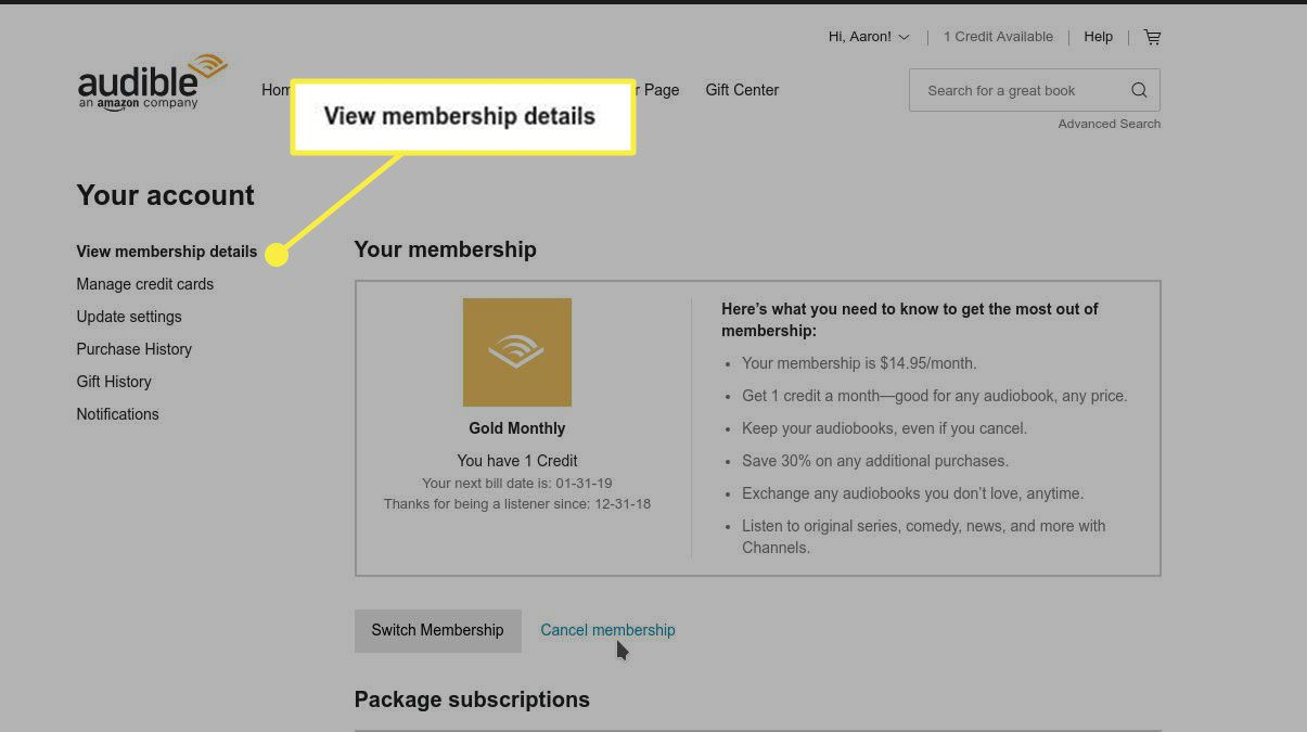 The View Membership Details heading