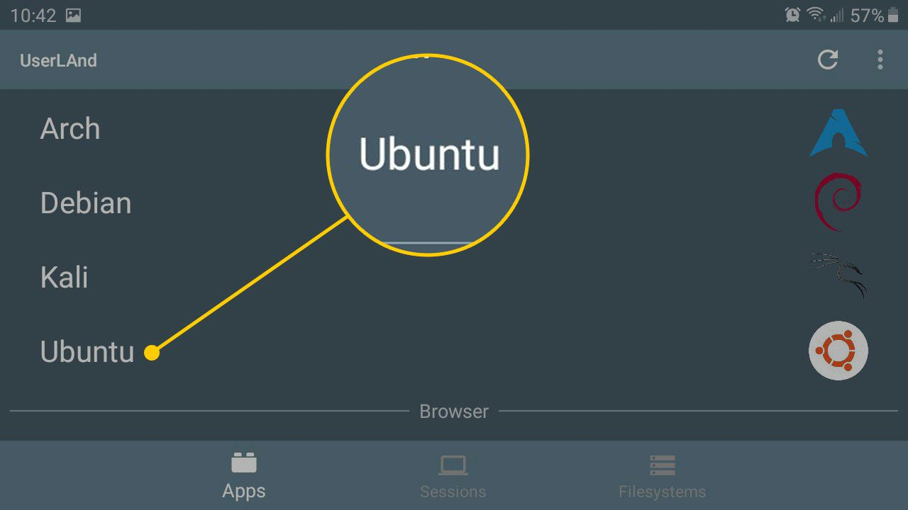 Ubuntu in the UserLAnd app