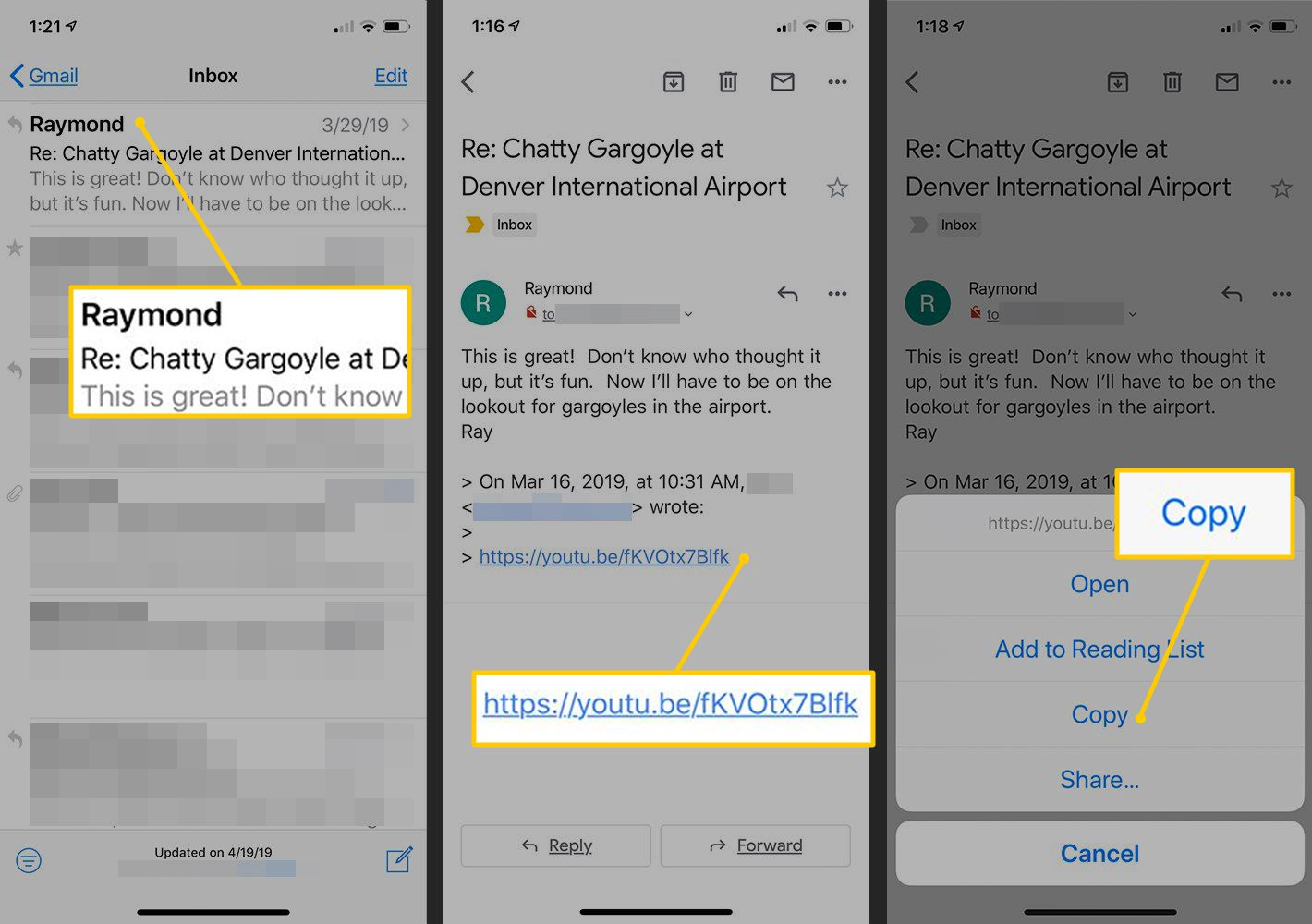 Email to tap, URL to tap, Copy button in iOS