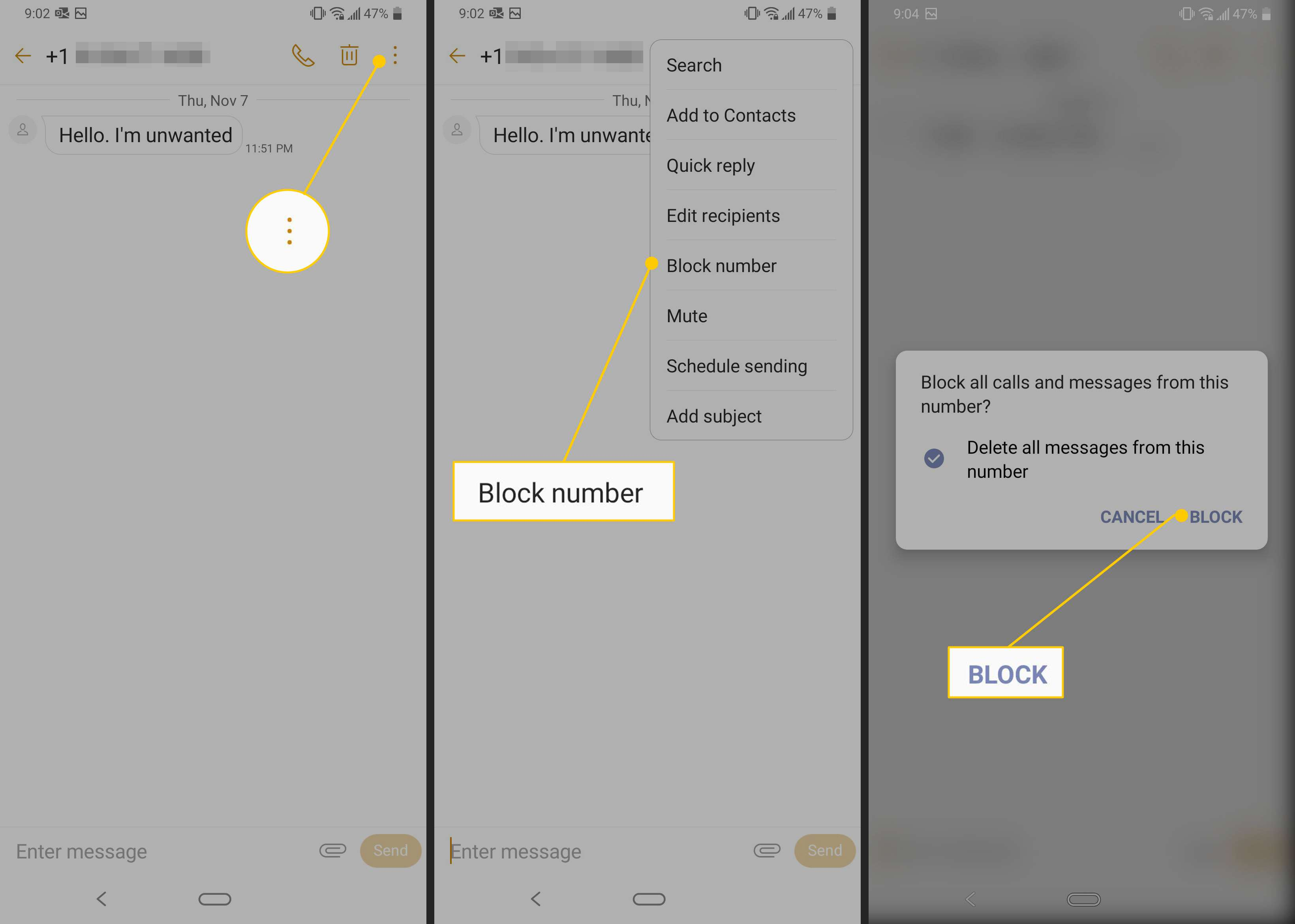 Menu button, Block number and Block confirmation button on LG phone