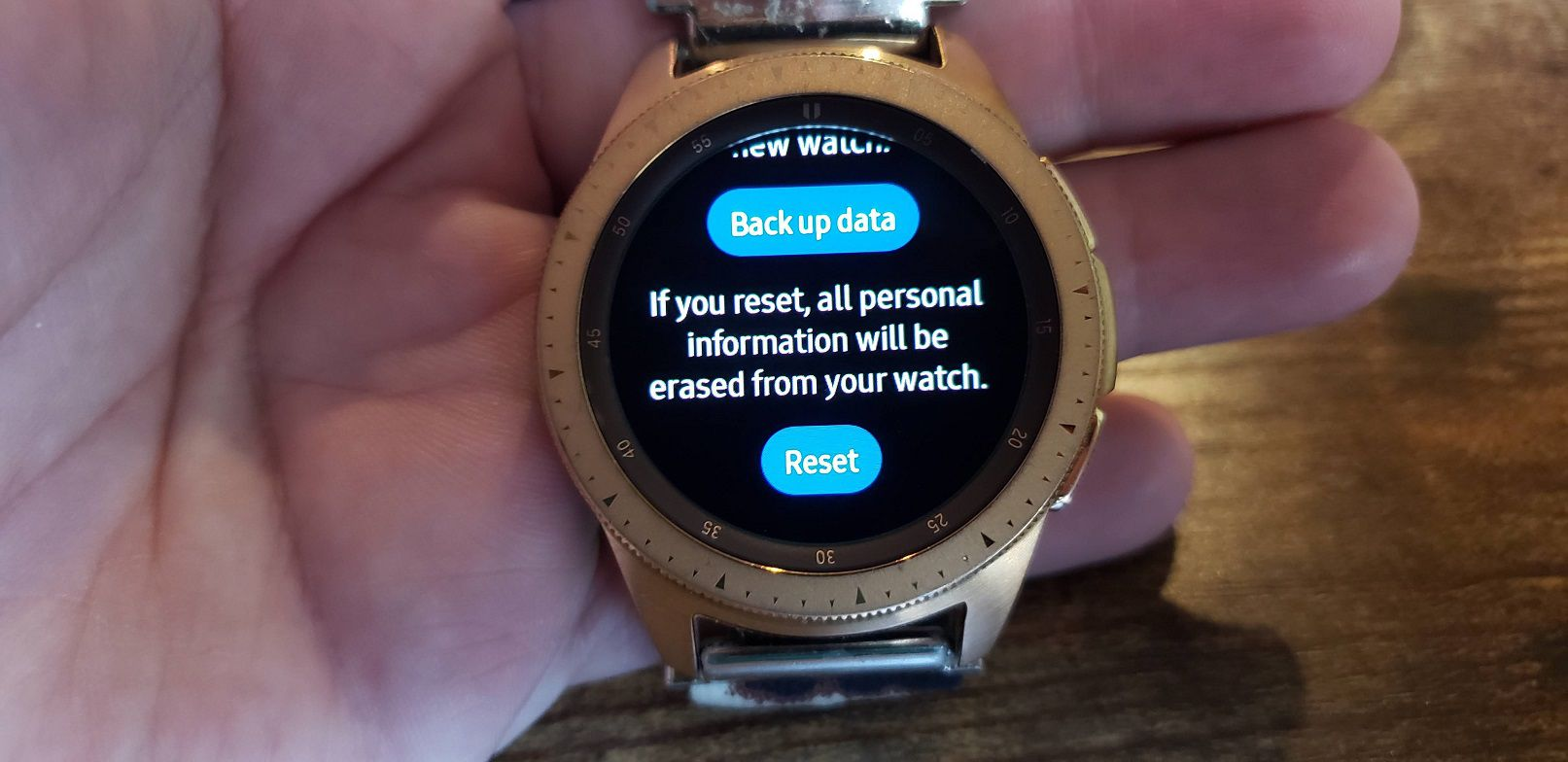 Samsung Galaxy Watch Settings Reset sub menu and confirm factory reset.