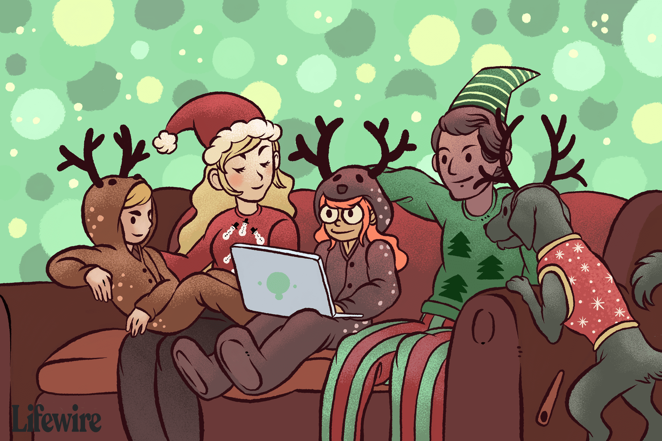 A family dressed in novelty Christmas outfits on a couch watching movies on a laptop