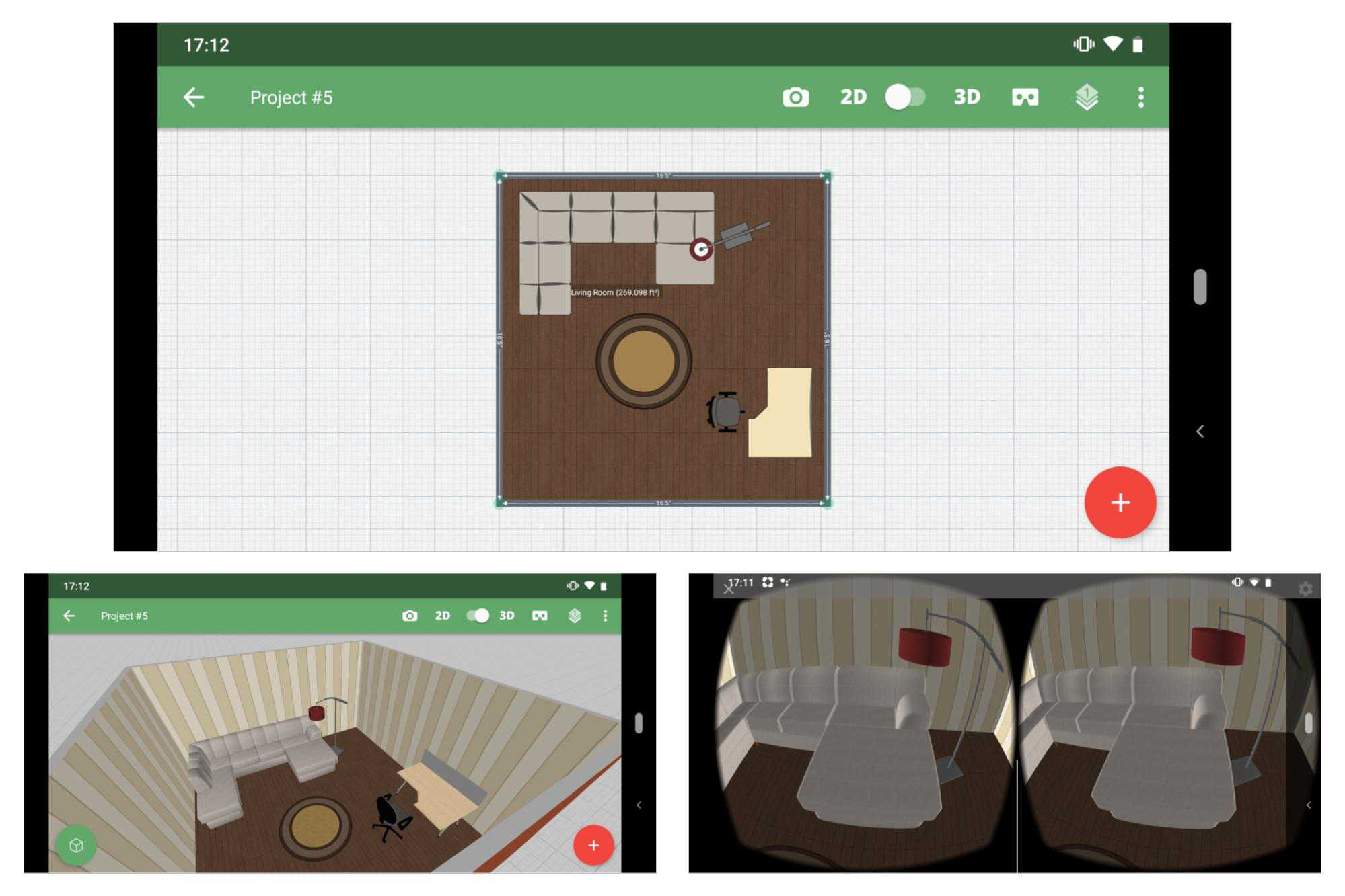 3 screenshots: (Top) 2D floor plan layout; (Bottom left) 3D room view; (Bottom right) Google Cardboard virtual reality view