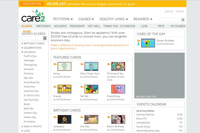a screenshot of the homepage at care2