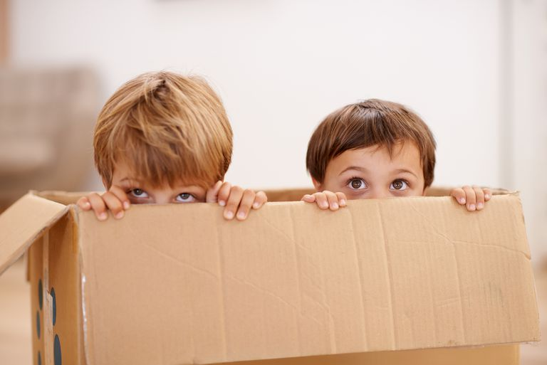 Children hiding in a box