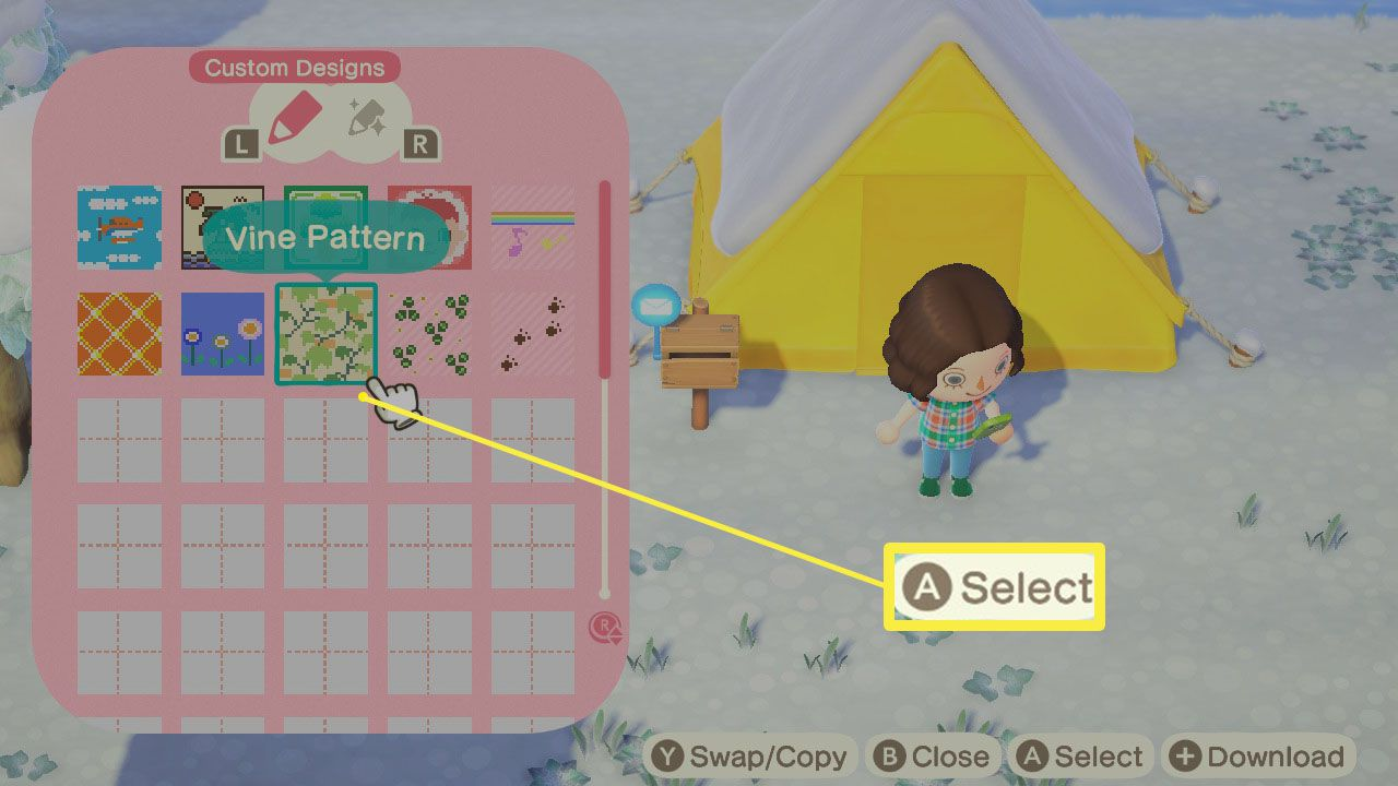 Animal Crossing: New Horizons with Custom Design open and A select highlighted