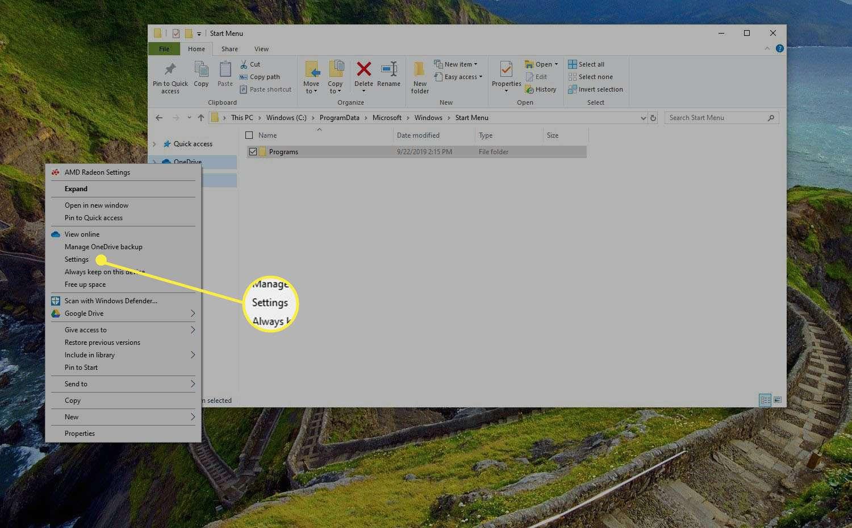 Settings in right-click menu
