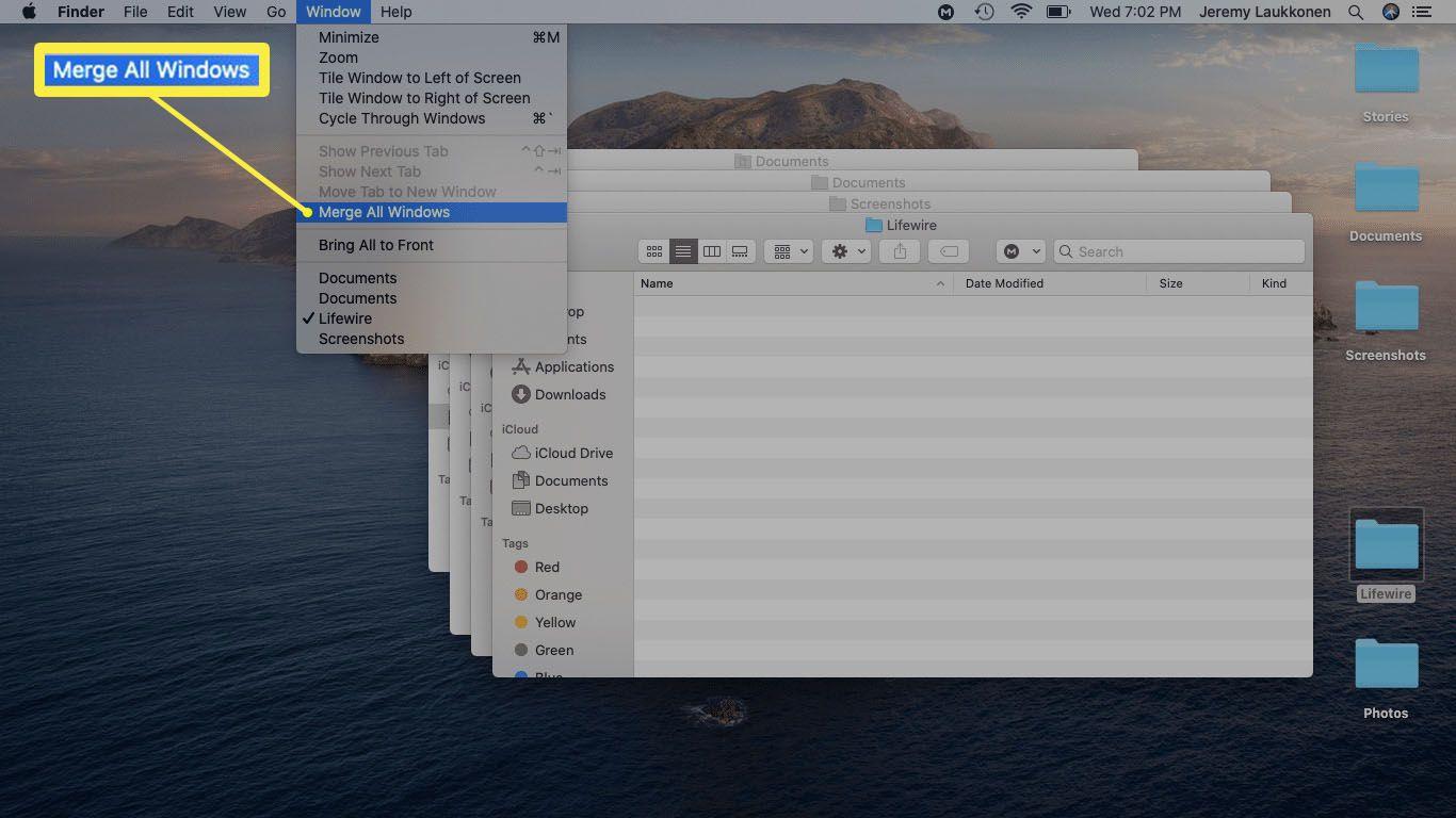 A screenshot of merging Finder windows via the menu command.