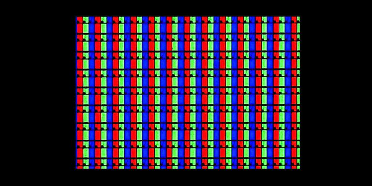 LCD TV pixels showing RGB subpixels