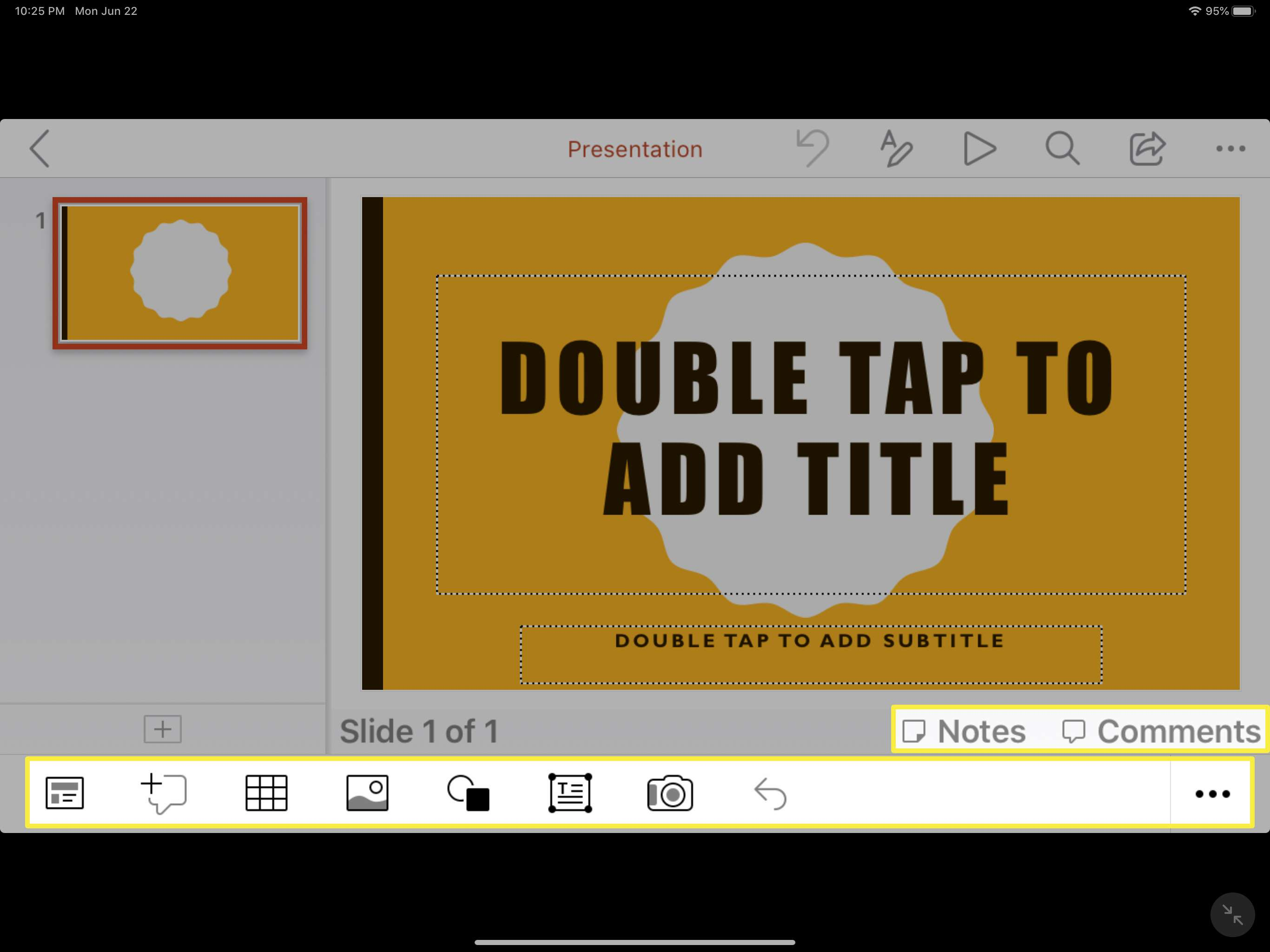 Some of the formatting tools in Presentations on the Microsoft Office app for iPad.