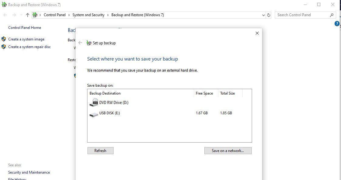 Screenshot of Setting up Backup on Windows
