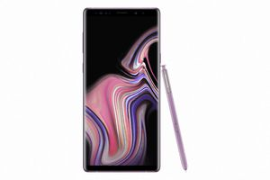 The Samsung Galaxy Note 9 in the lavender color.