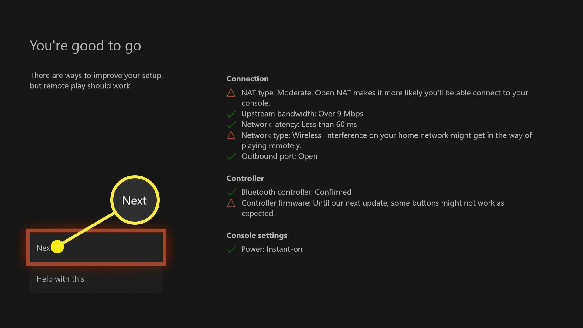 A screenshot of an Xbox One showing that it is ready for remote play.