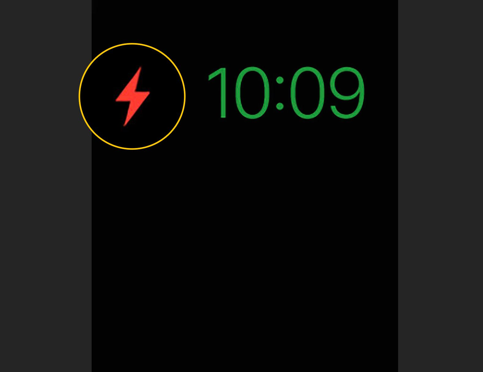 Red power reserve lightning bold on Apple Watch