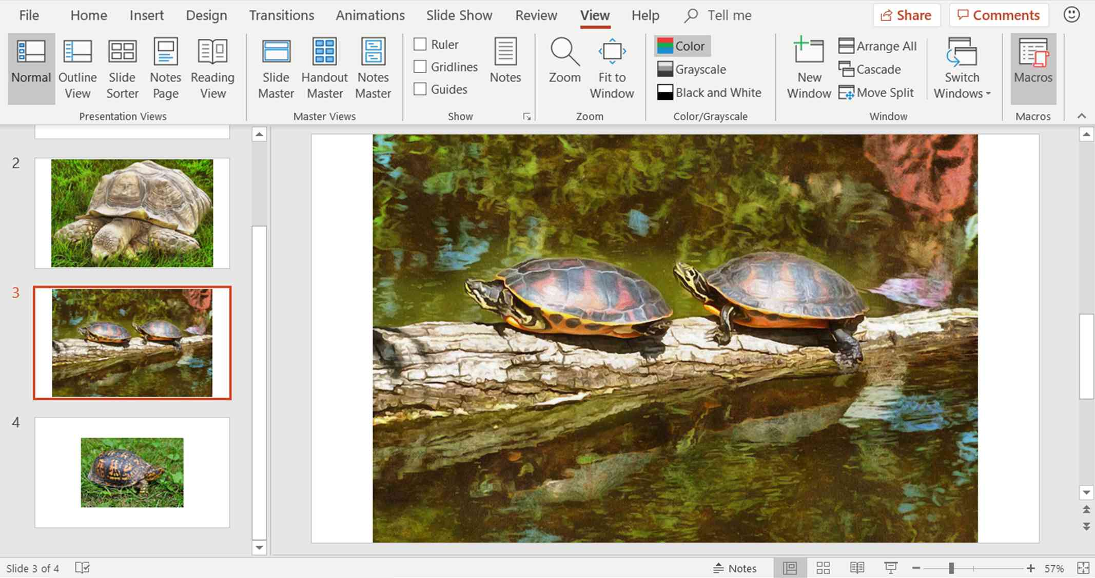 A screenshot showing how to create a new macro in a PowerPoint presentation