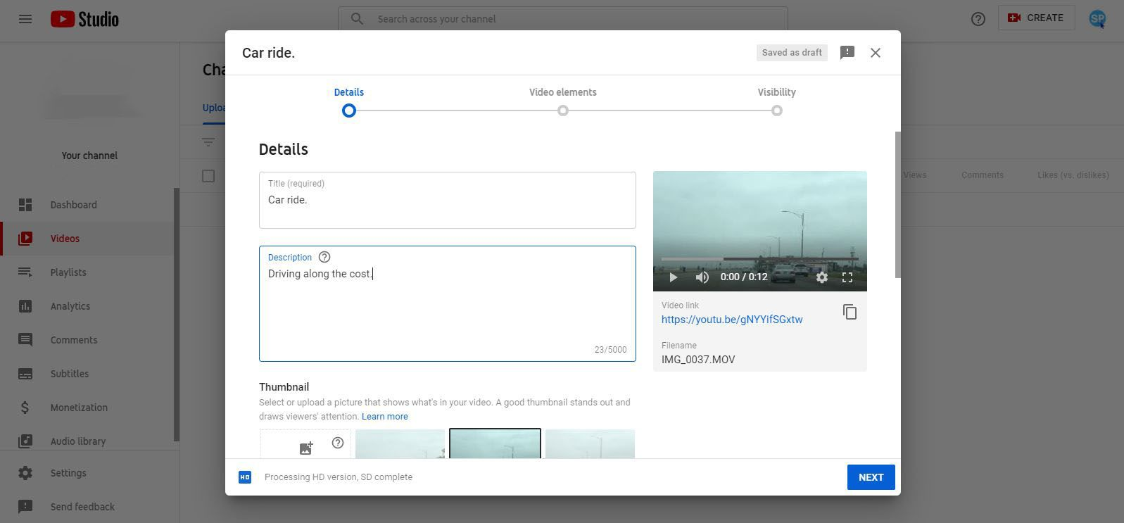 YouTube Studio - enter video details